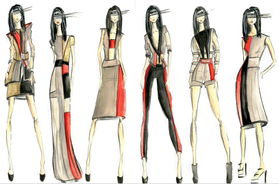 Introduction to Fashion Design, Sketches, FW 12.