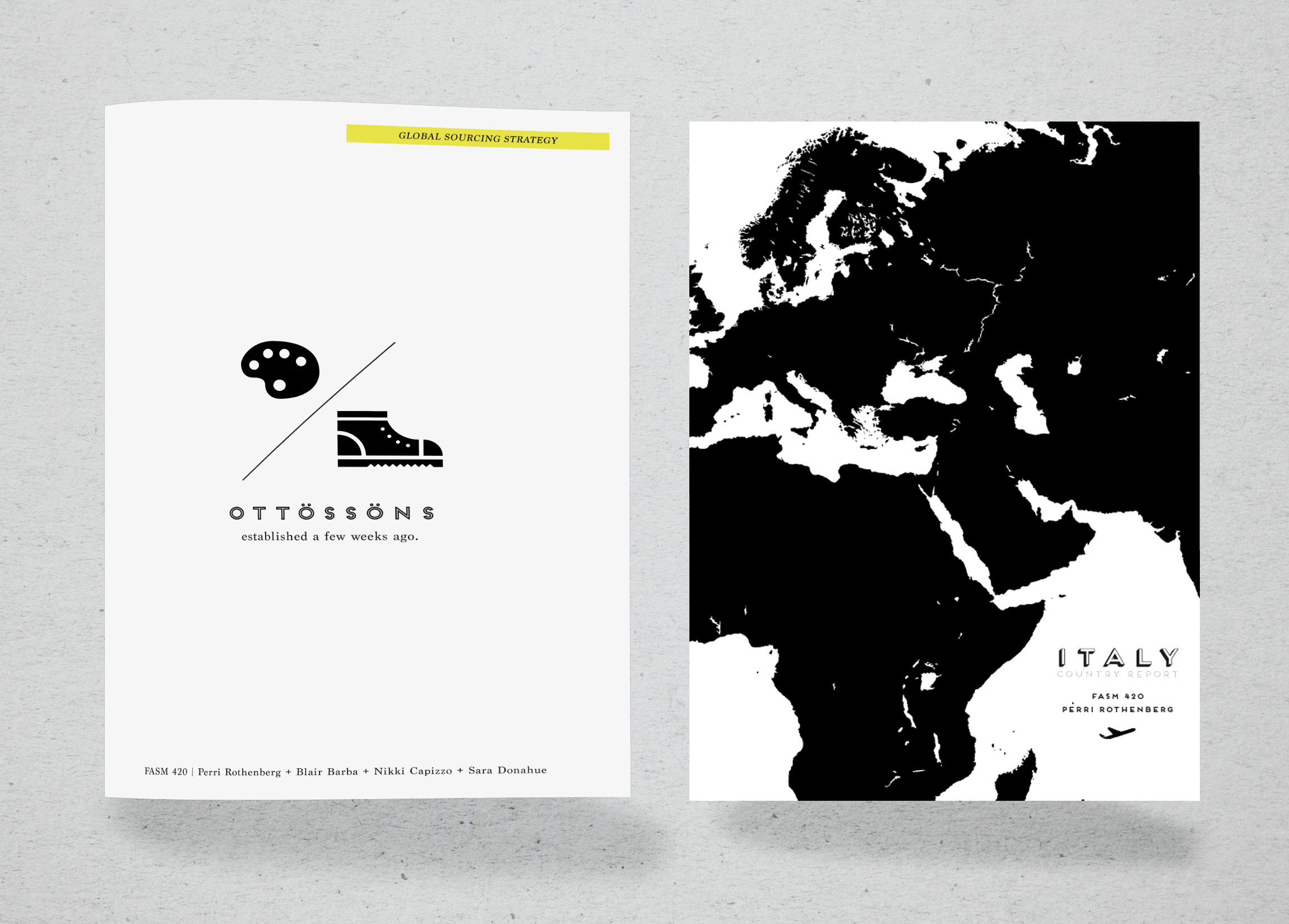 Covers for final report. Left: Ottossons Global Sourcing Strategy, Right: Italy Country Report.