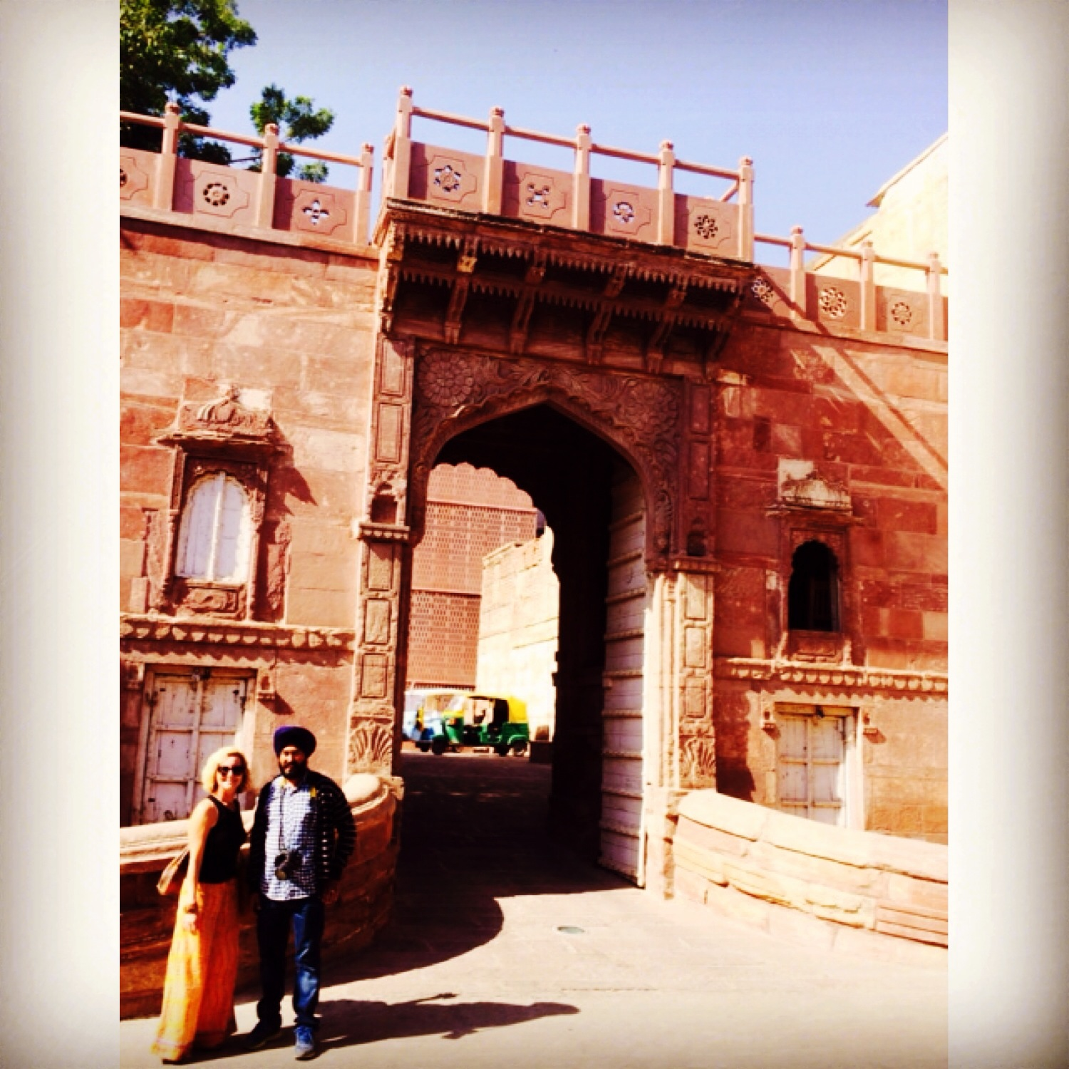 John's wife Suzanne and our good friend Gagan at the entrance to the RAAS hotel in Jodhpur