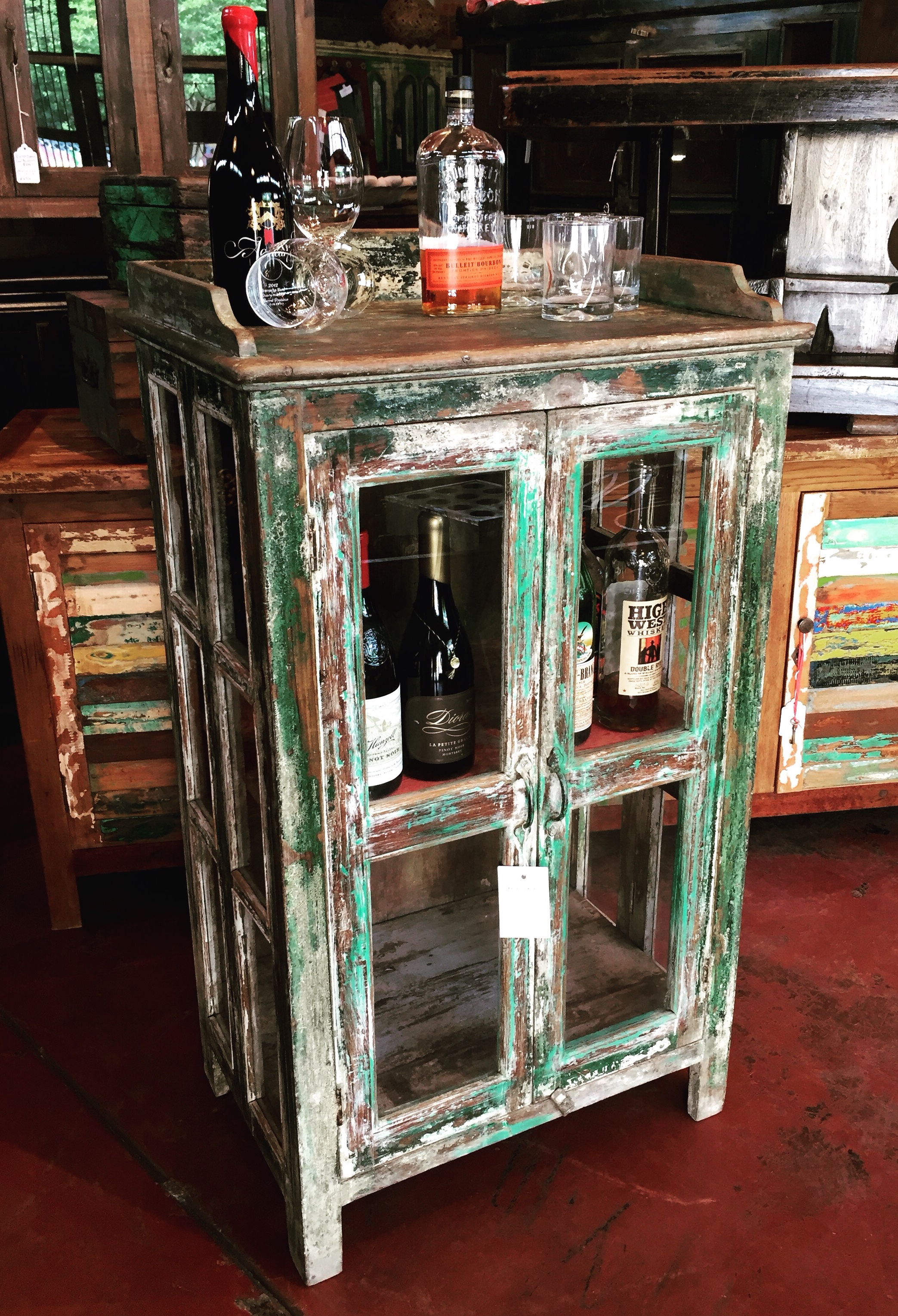 "Vintage Indian Cabinet   Our cabinets make awesome home bars!  25.5""w x 17.5""d x 46""h  $650.00  #3546"