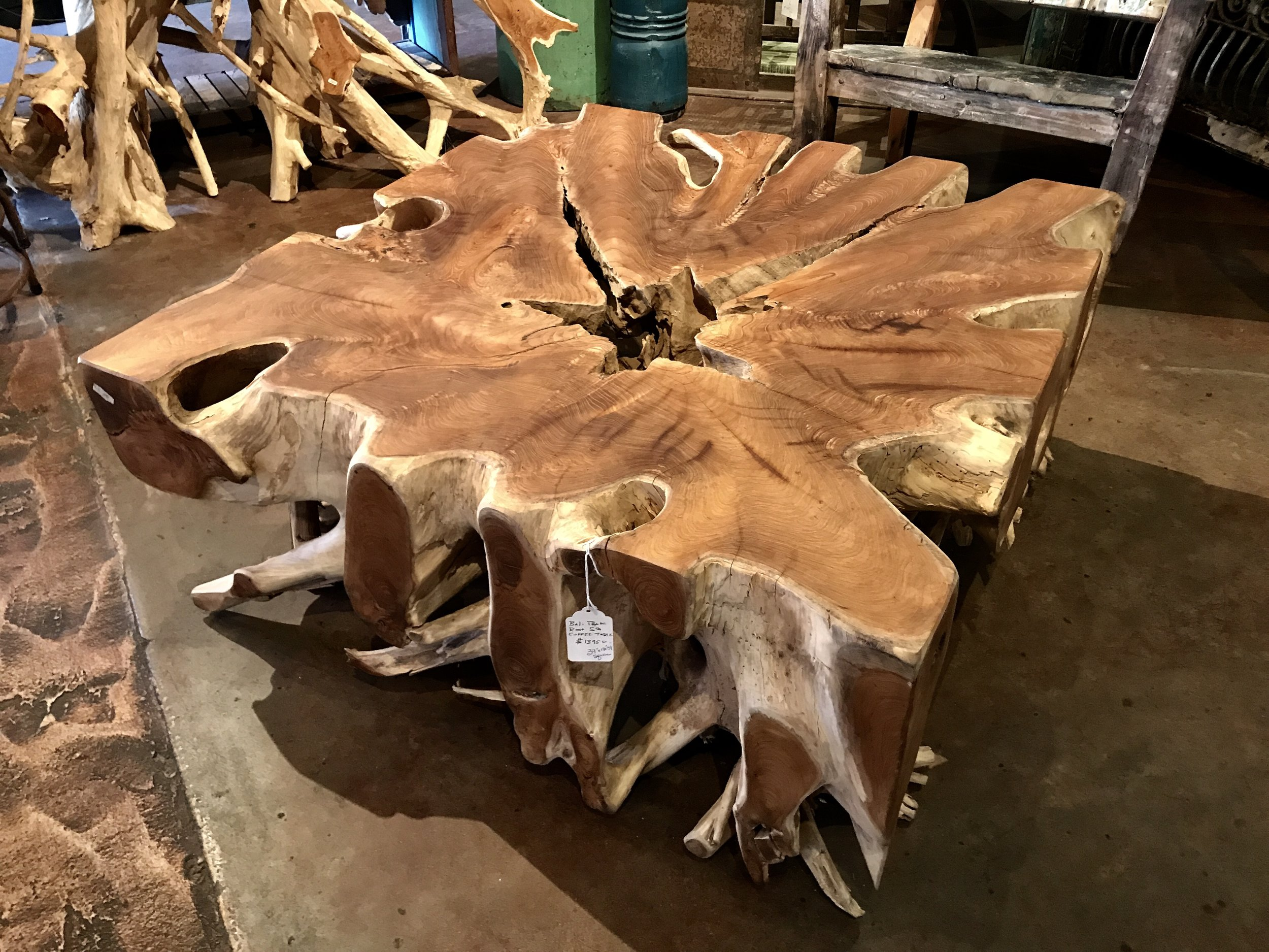 "Balinese Teakwood root coffee table.   39""w x 39""d x 18""h  $1295.00  #J-1"