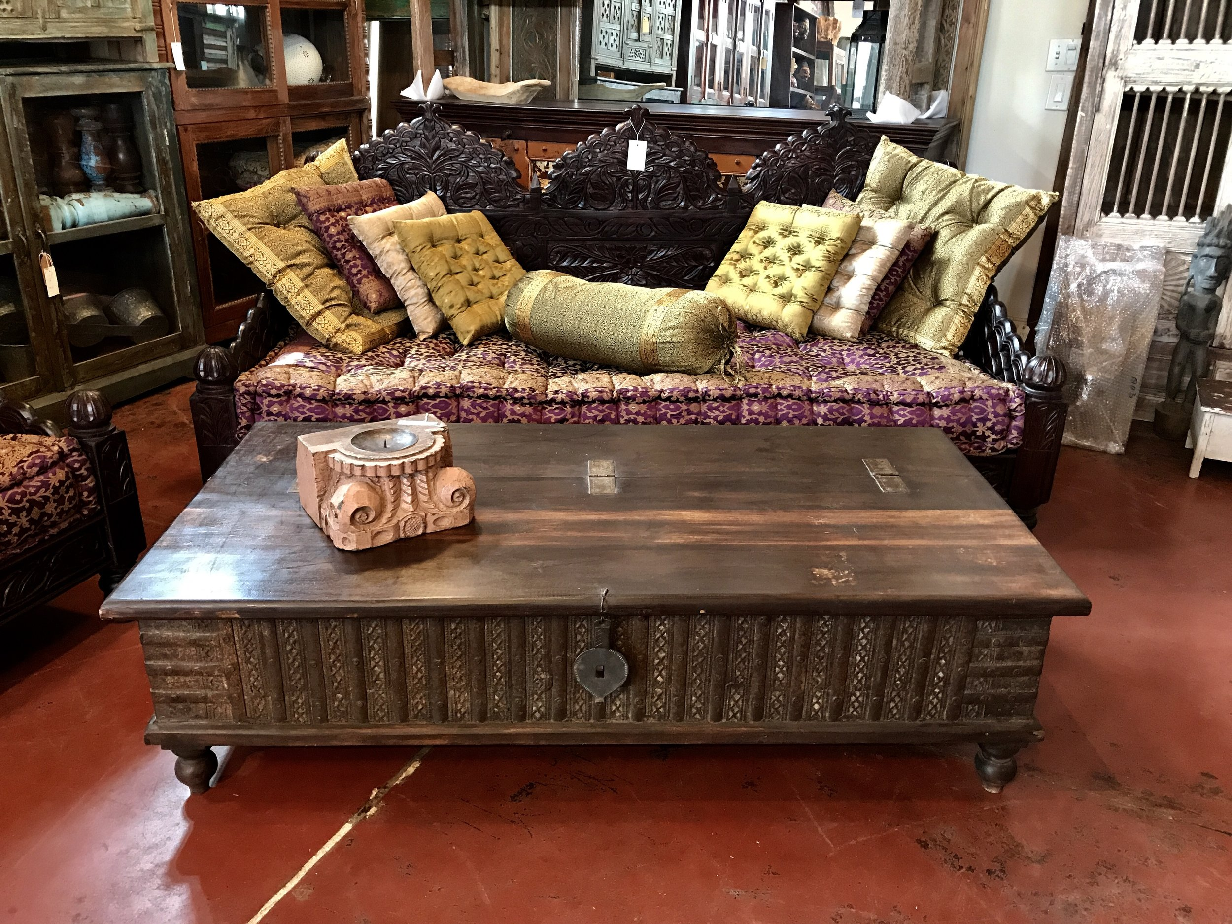 "Indian Blanket Box Coffee Table   SOLD - MORE ON THE WAY  61""w x 30""d x 17""h  $895.00  #CH-3-B"