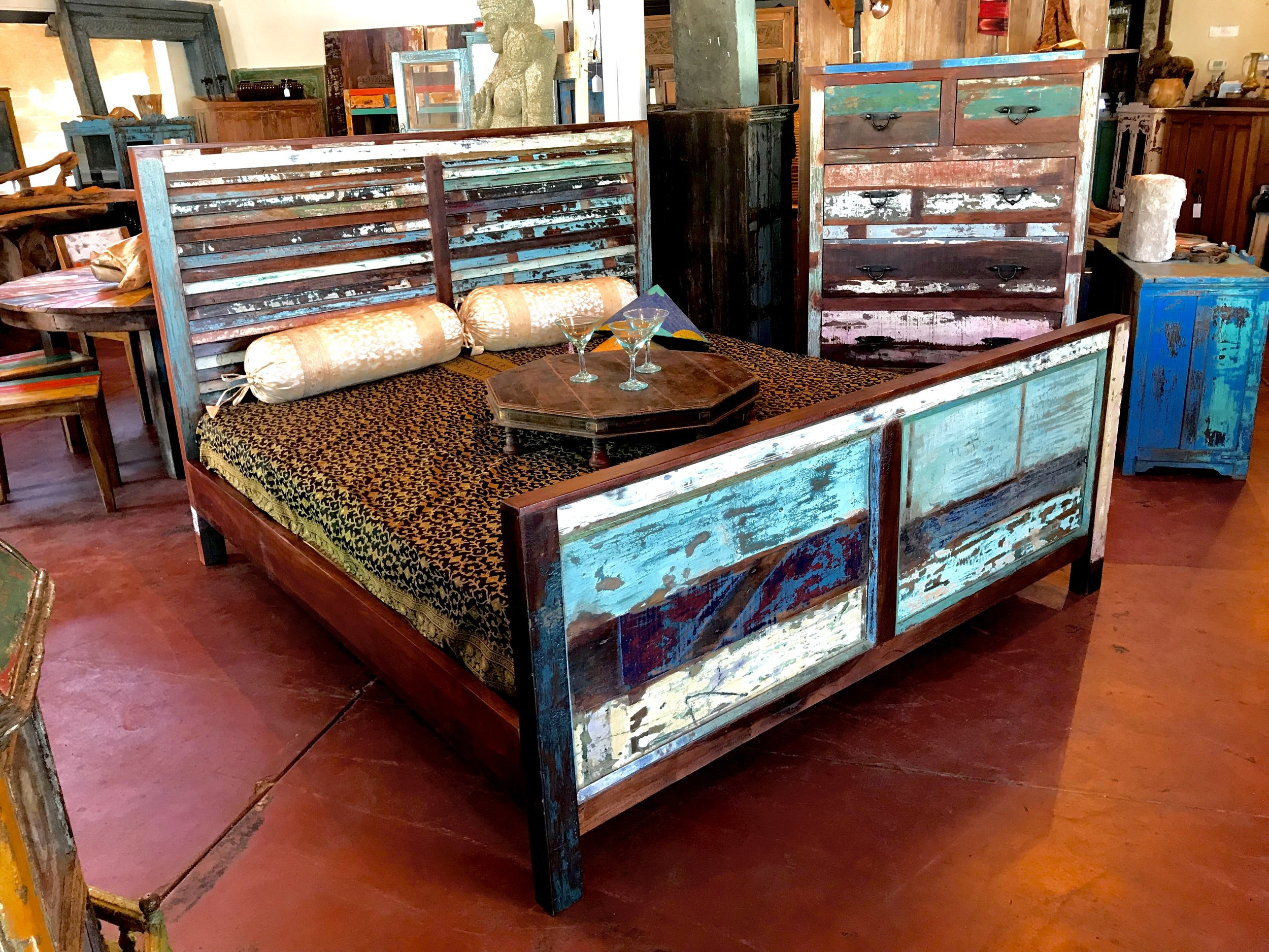 Indian Reclaimed Wood King Bed