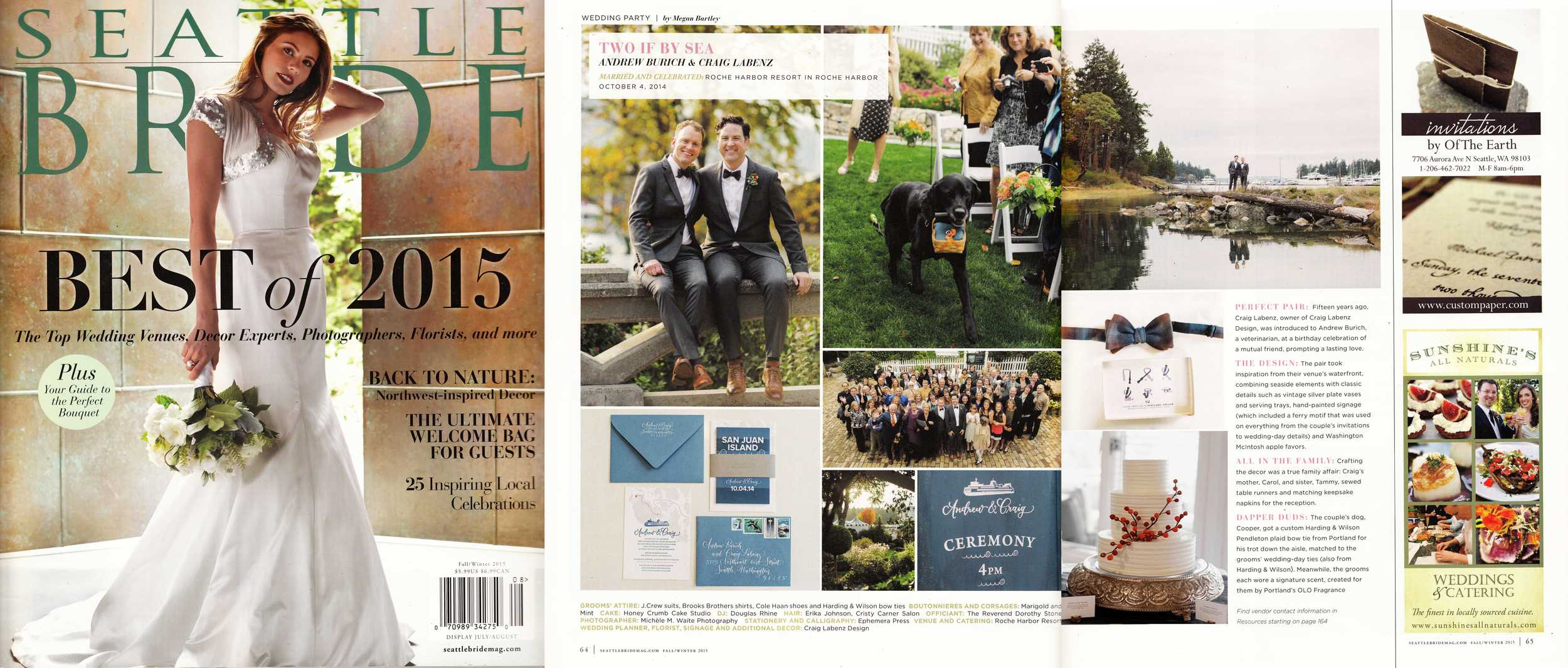 """Seattle Bride, Fall-Winter 2015 (""""Real Wedding"""" feature and first runner-up for """"Best Wedding Cakes"""" 2015)"""
