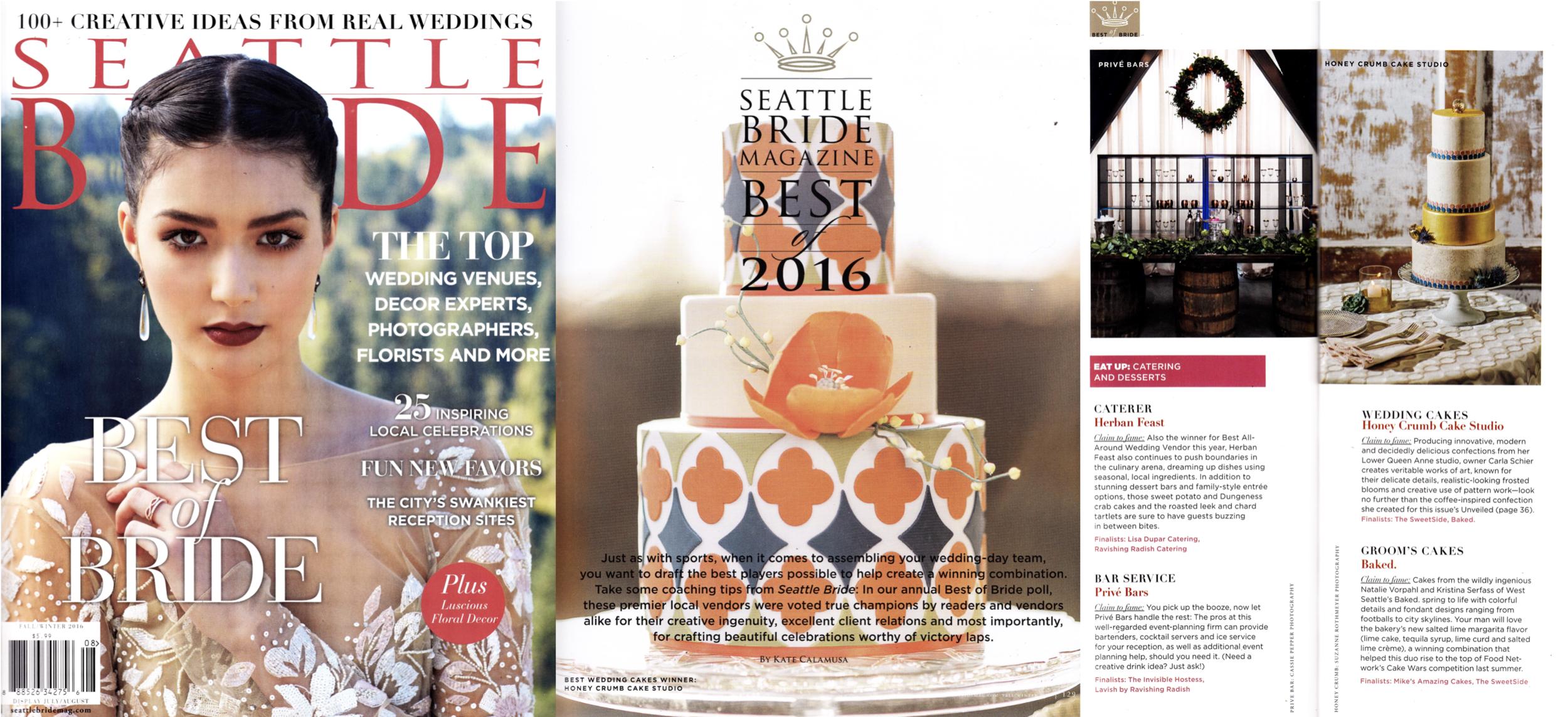 """Seattle Bride, Fall-Winter 2016 (""""Best Wedding Cakes"""" winner in Best of Bride 2016)"""
