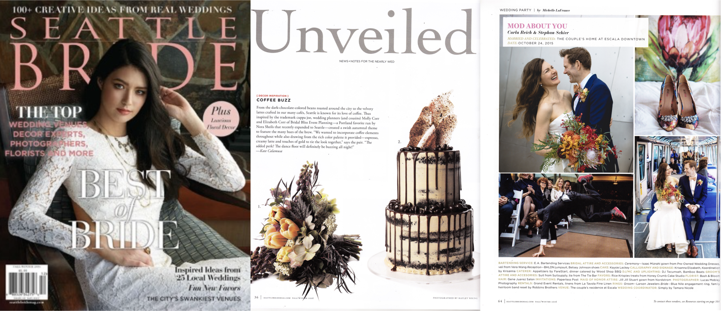 """Seattle Bride, Fall-Winter 2016 (""""Unveiled"""" feature, and our chef's own wedding published)"""