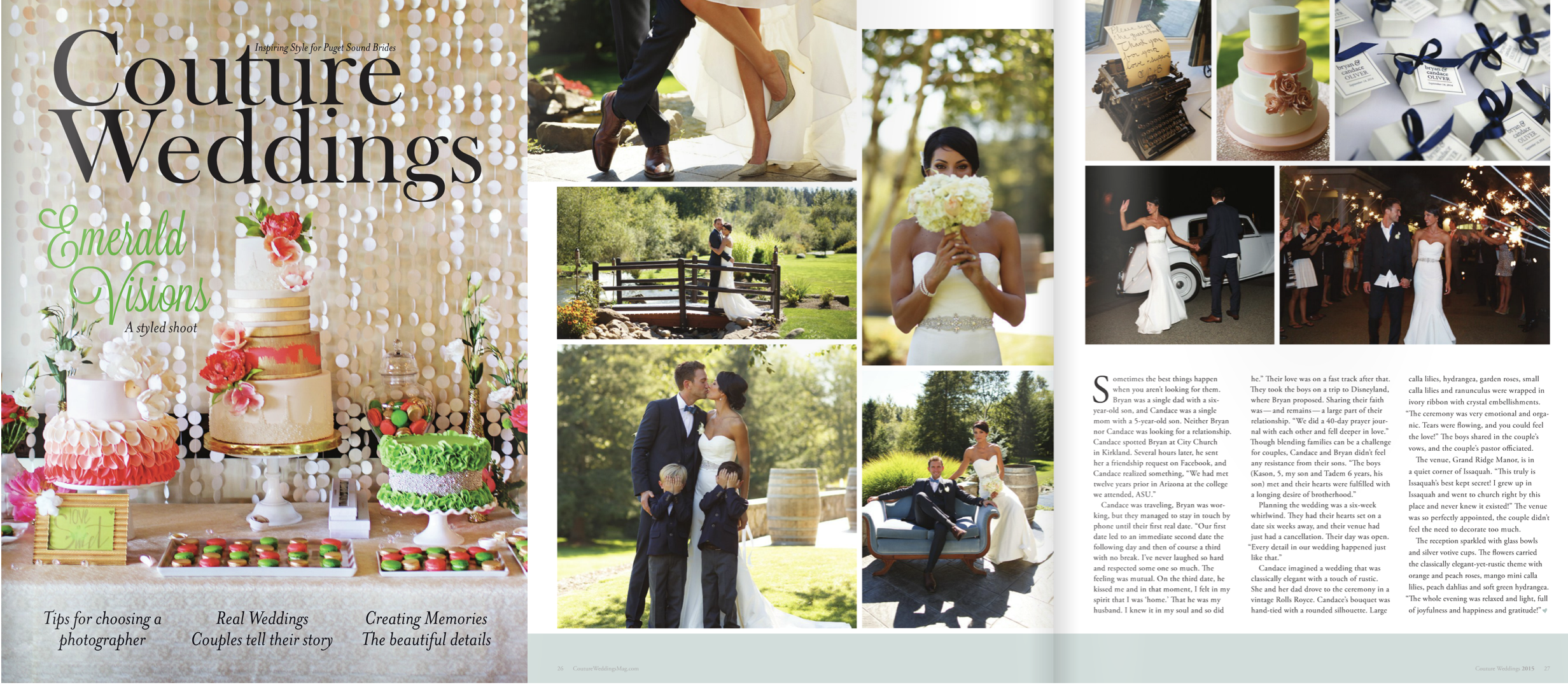 """Couture Weddings Puget Sound, 2015 (""""Real Wedding"""" feature)"""