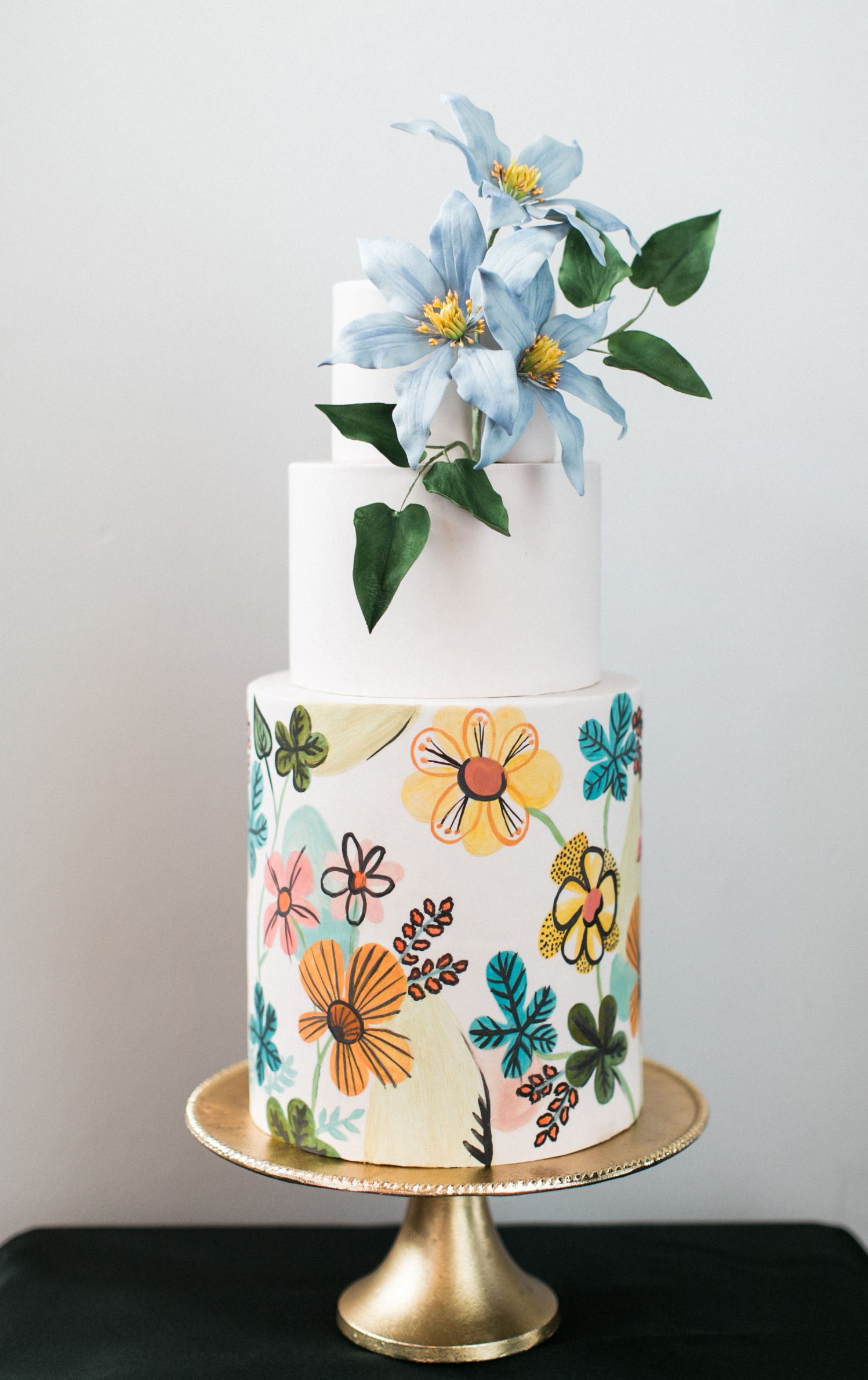 Mid Century Floral Cake - Photo by Matthew Land Studios