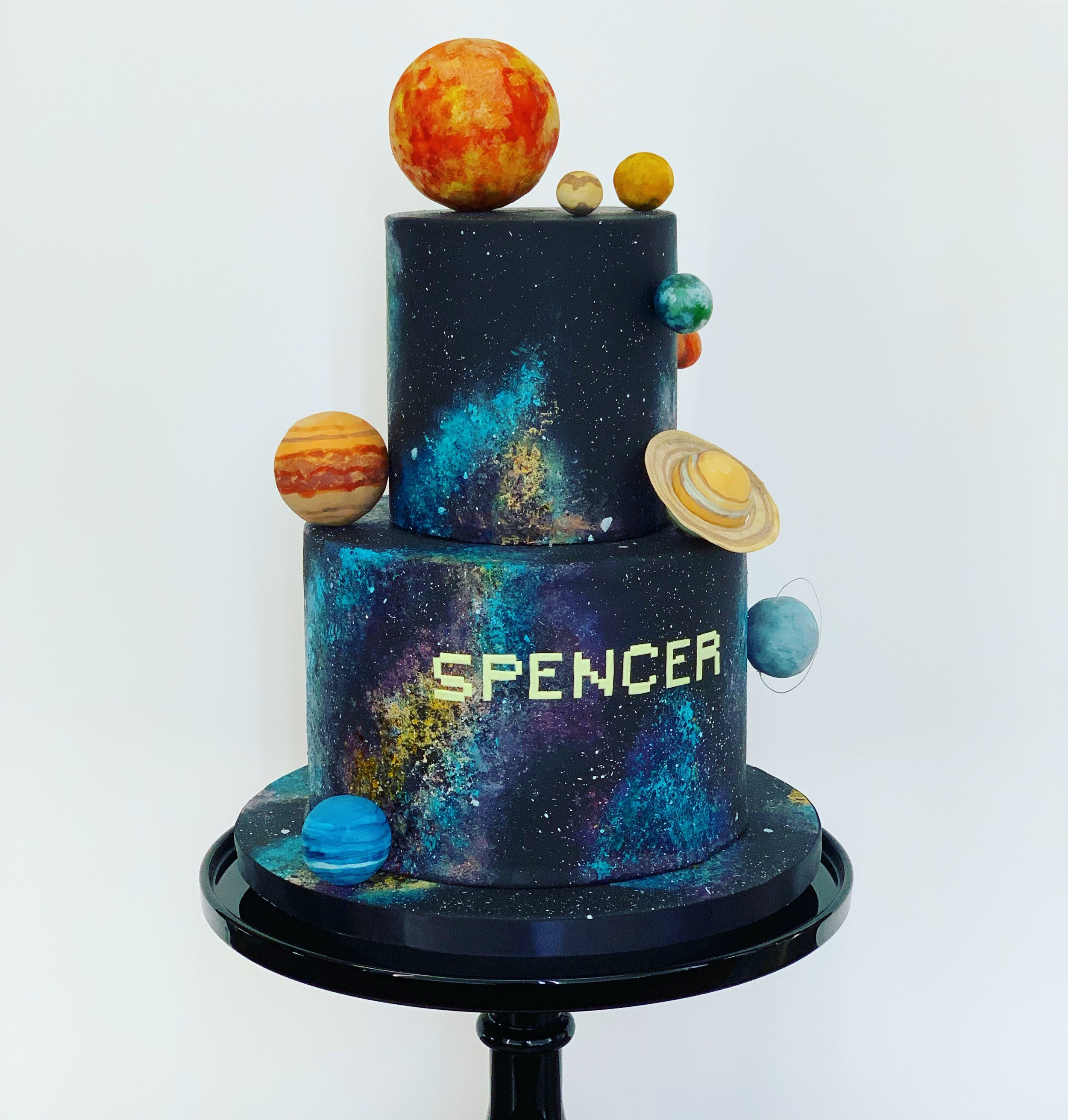Solar System Cake With Hand Painted Veil Nebulae Image Copyright Carla Schier
