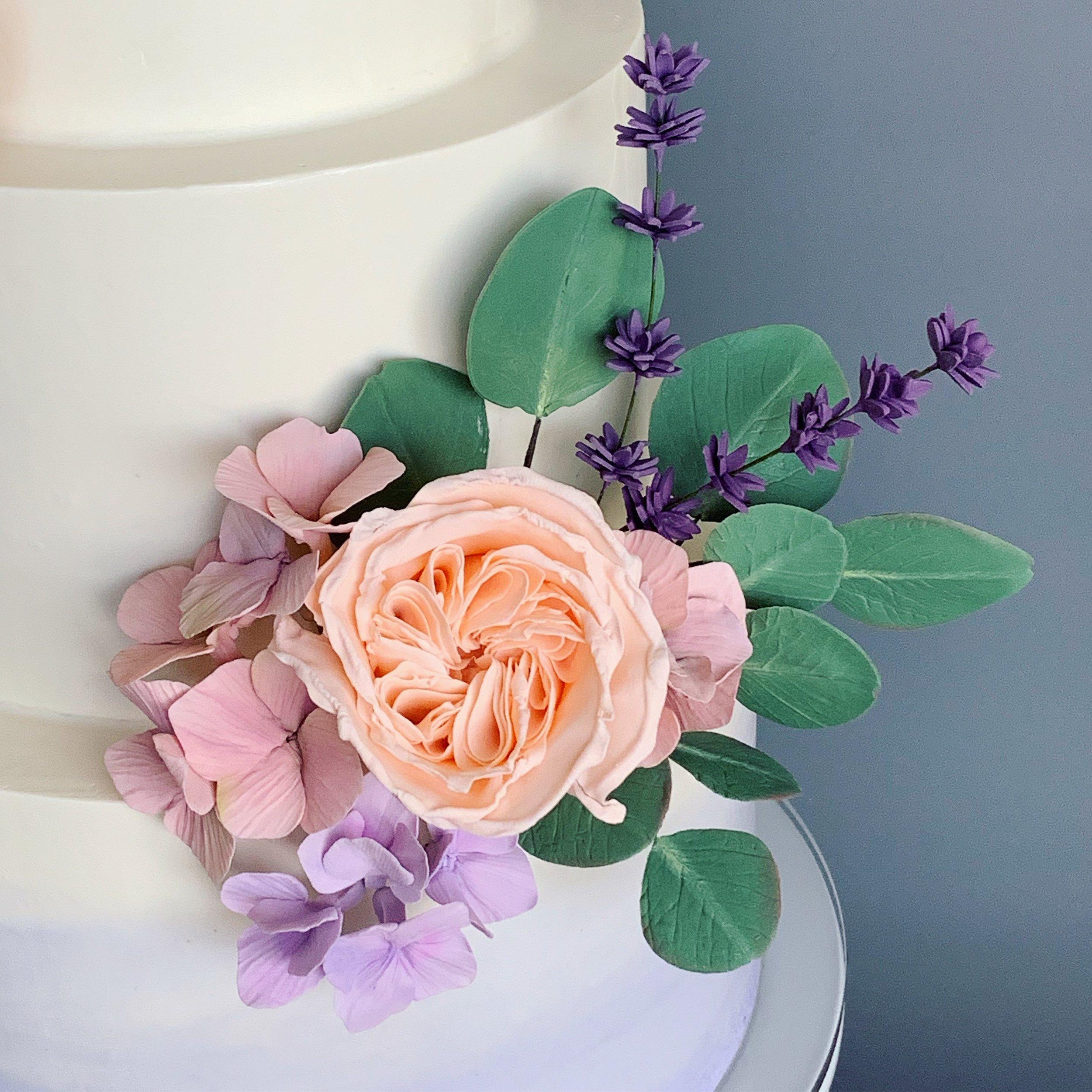 Sugar garden rose, lavender, hydrangea, and eucalyptus. Image copyright Carla Schier.