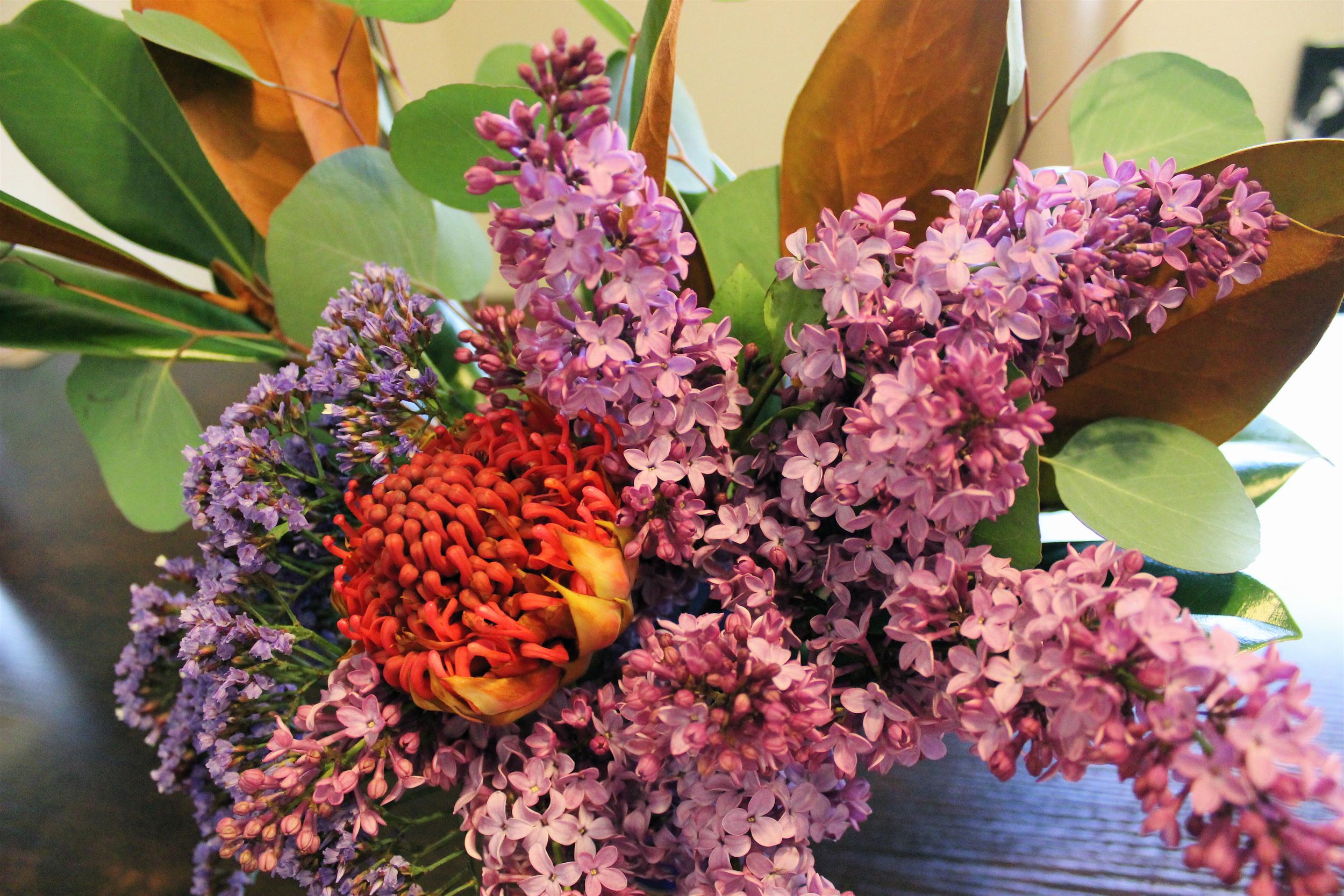 Magnolia, protea, & lilac...oh my.