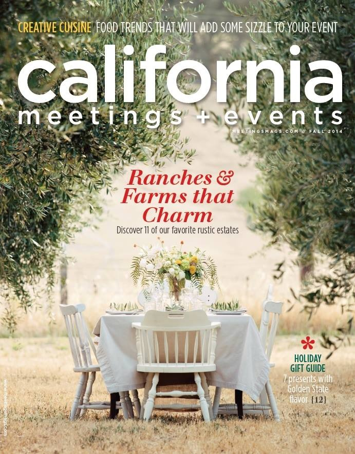 And our designs made the cover of California Meetings & Events Magazine at Soul Food Farm with styling and Photography by Amber Johnston at My Sweetness Stylized Photography.