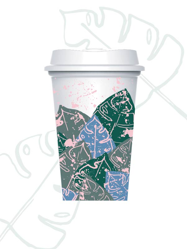 layered palms - reusable plastic cup