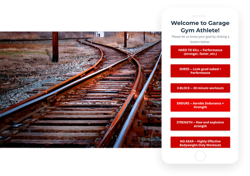 ① TRACKSStay Focused & Accountable - Goal-setting is a messy game - but not with GGA. Select your goal and we will put you on a Training Track designed to keep you on point. Detailed workouts delivered daily to keep you ahead of your goals. Only 3-4 days per week required.
