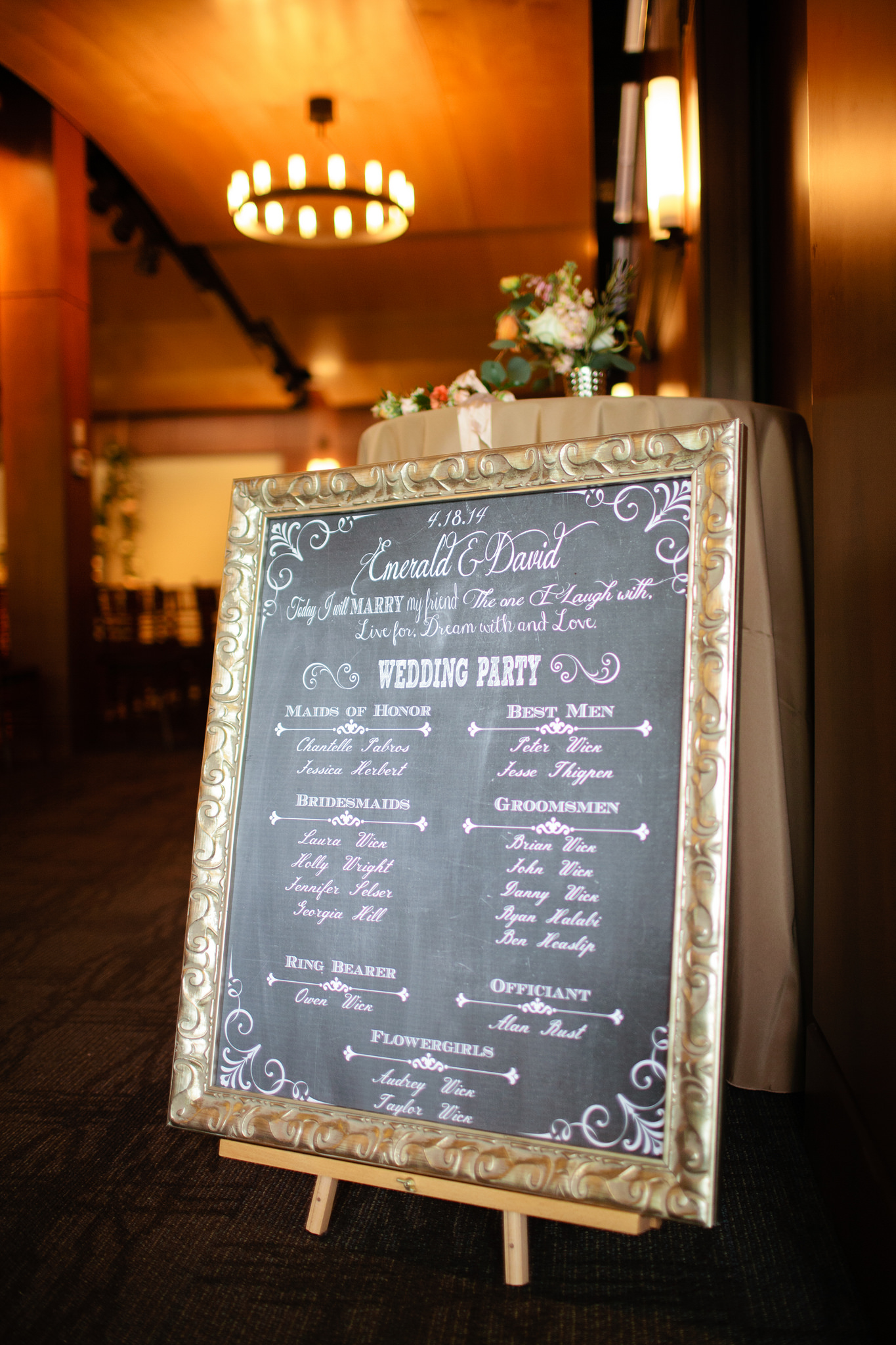the chalkboard program designed by the bride was killer!