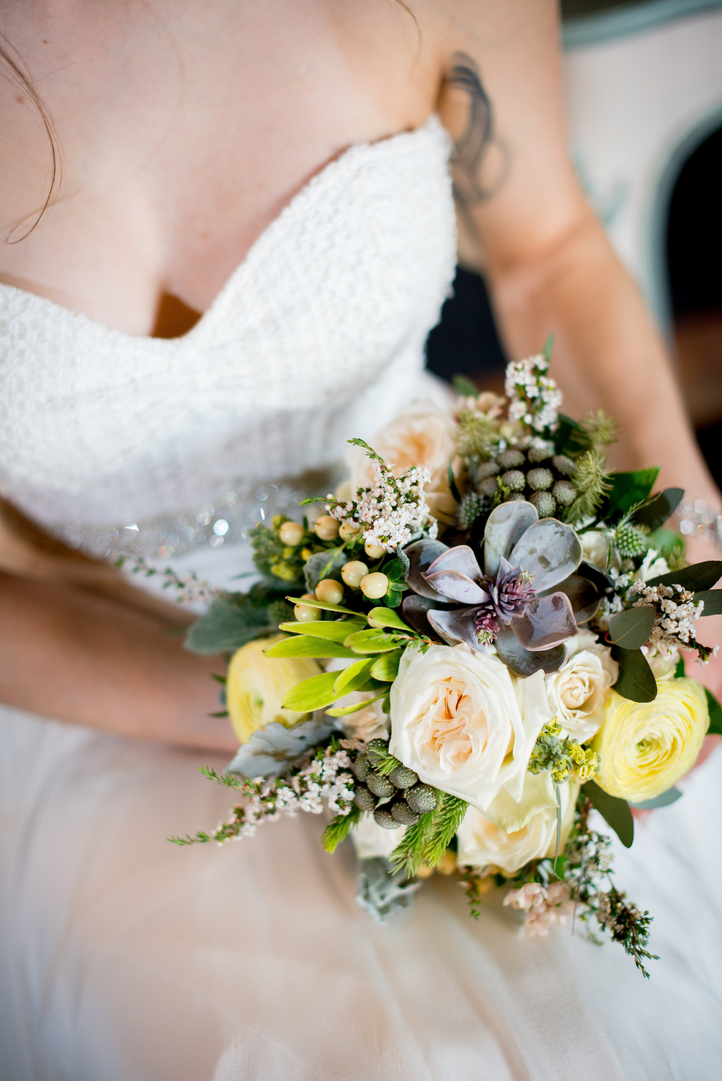 sweetwater brewing company wedding, atlanta wedding planners, beer inspired bridal bouquet with hops, succulents, garden roses, lambs ear and ranunculus