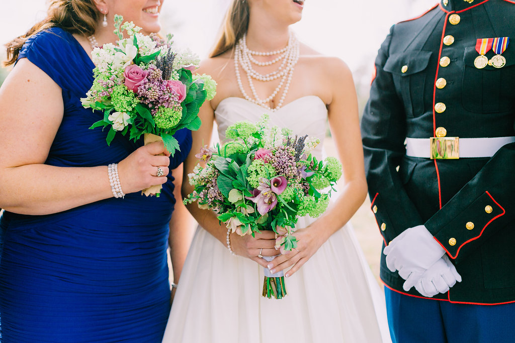 purple and green joint base charleston military wedding planners | organic bouquets with lavender calla lilies, pale purple stock, fragrant fresh lavender, scabiosa, purple spray roses, lisianthus, stock, lavender freesia and gladiolus bridal bouquet