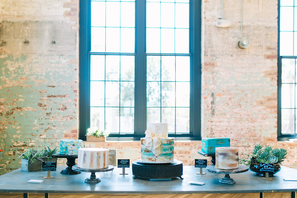 modern, industrial, mixed metals wedding cake bar at cedar room in charleston by scarlet plan & design | Charleston, Greenville Wedding Planners