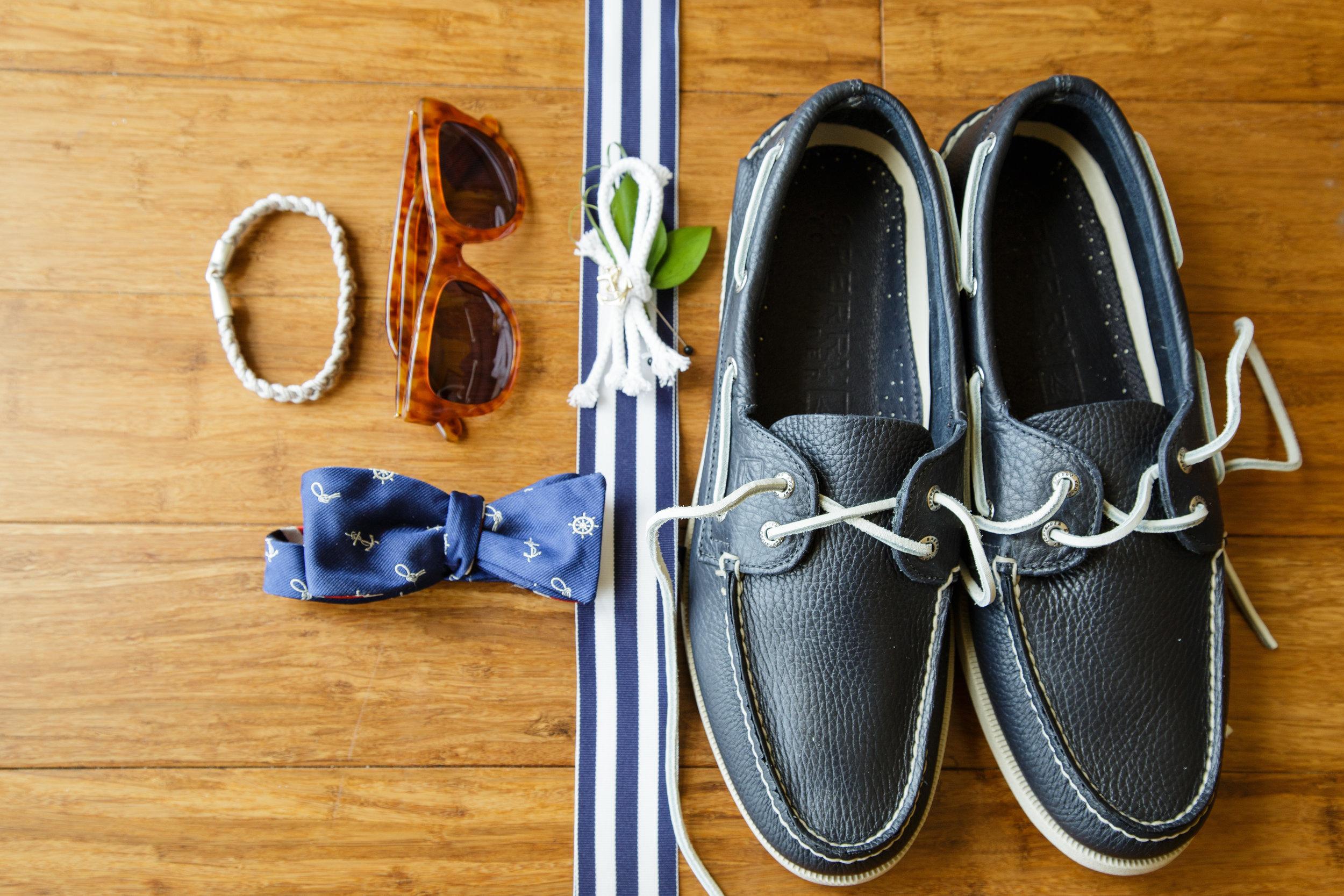 nautical wedding groom's shoes, custom sperry boat shoes, nautical boutonnierre, nautical bowtie