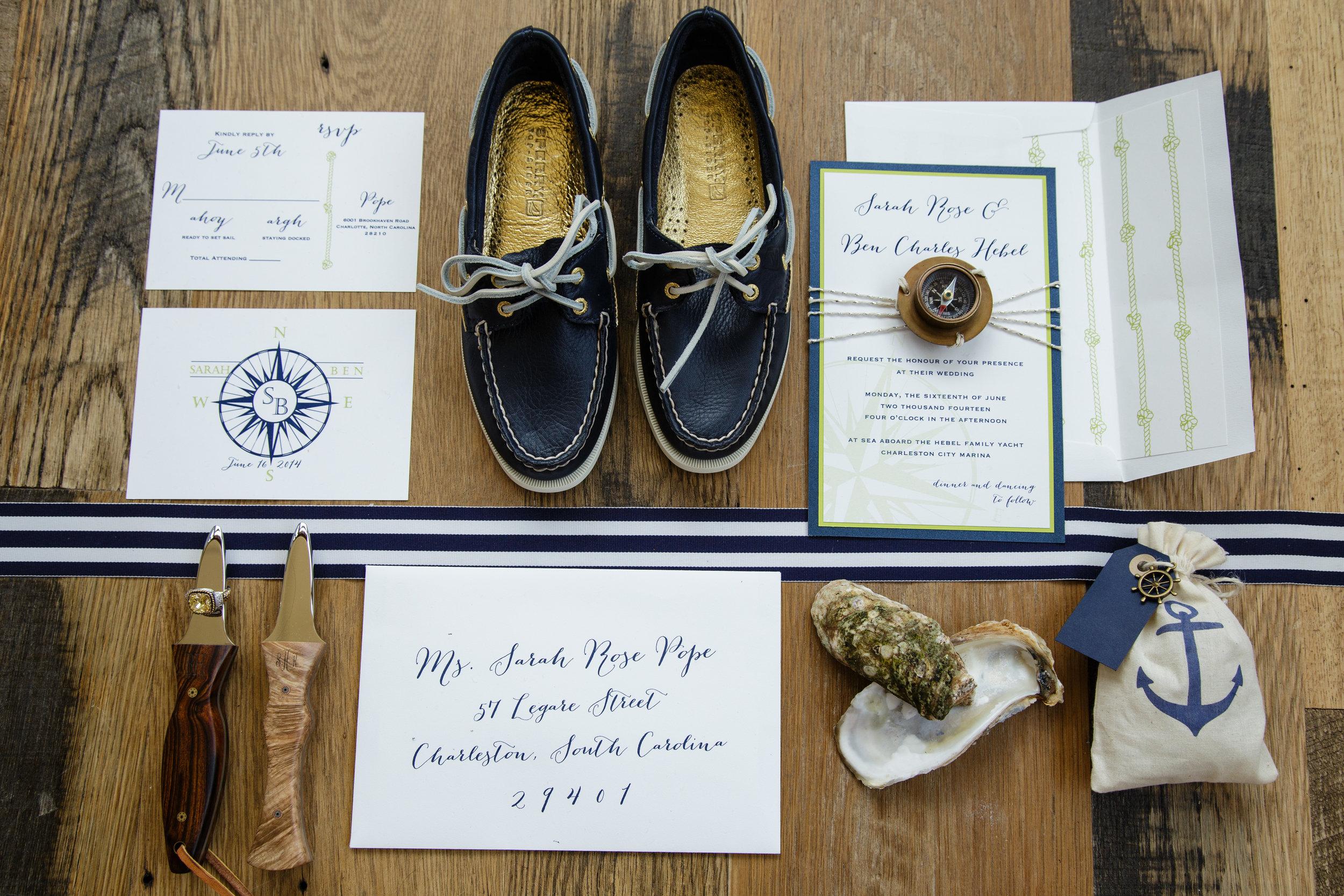 charleston wedding planners | nautical wedding groom's shoes, custom sperry boat shoes, nautical boutonnierre, nautical bowtie