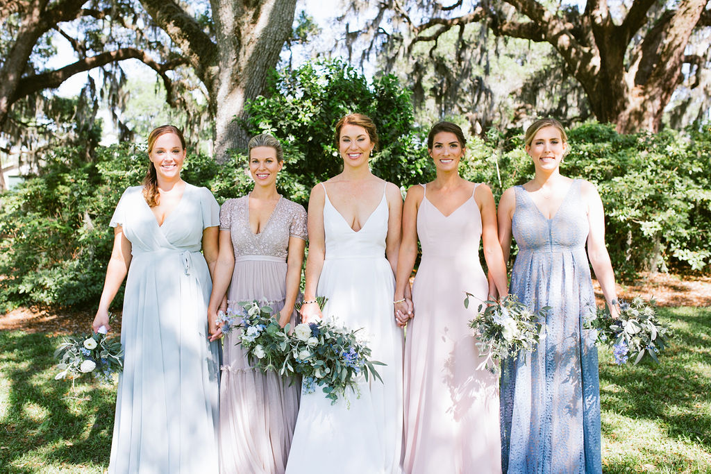 Edisto Island Wedding at Cypress Trees Plantation - Charleston Destination Luxury Wedding Planner - Scarlet Plan & Design, mismatched bridesmaids gowns