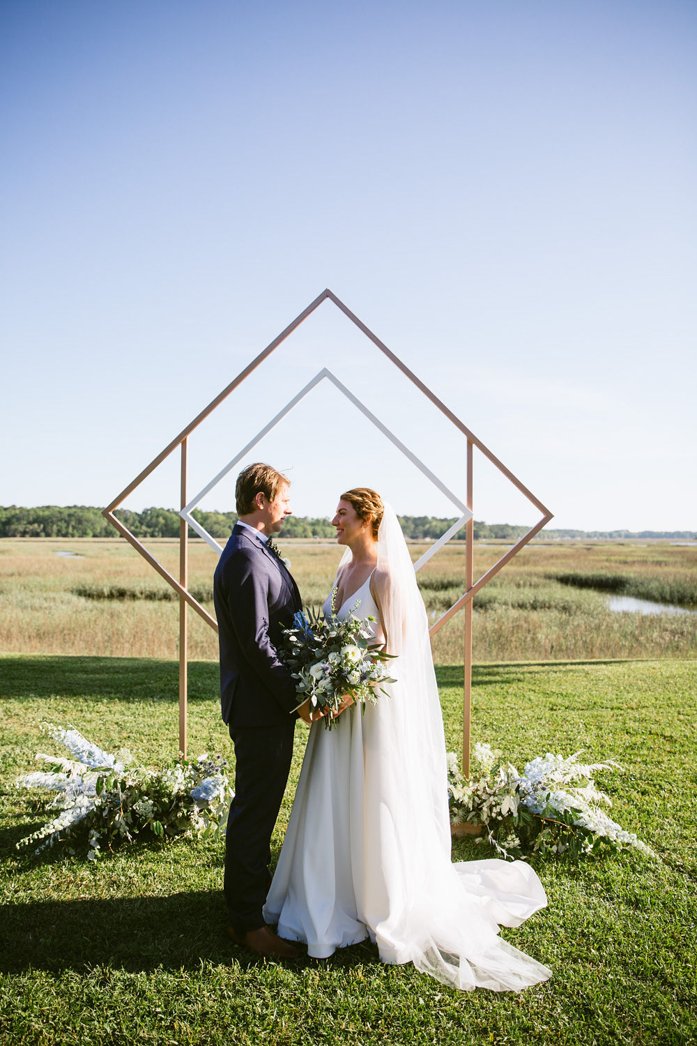Edisto Island Wedding at Cypress Trees Plantation - Charleston Destination Luxury Wedding Planner - Scarlet Plan & Design, geometric ceremony backdrop