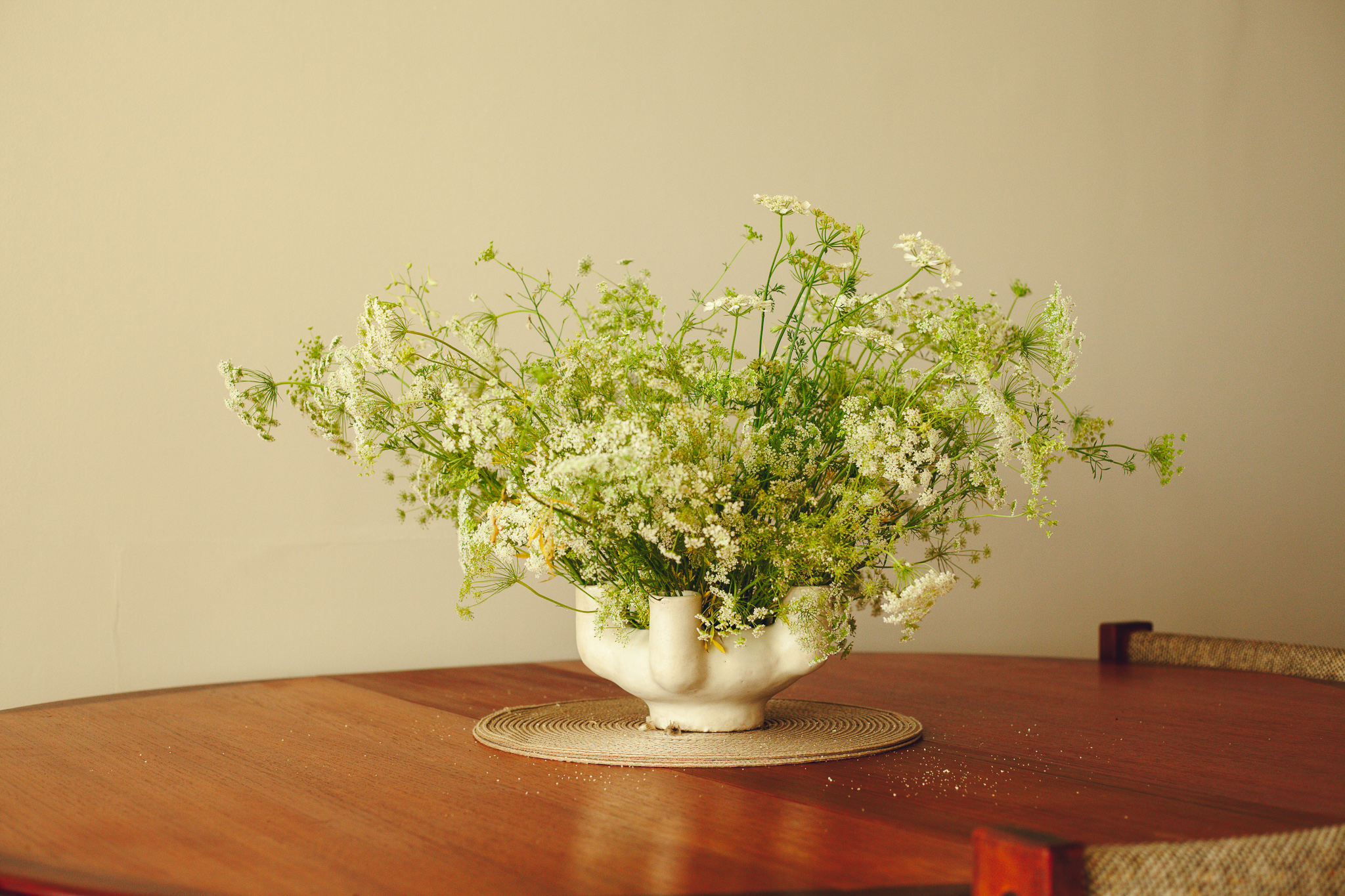 07.12.19 Home, Brooklyn, New York Wild Carrot and Orlaya in vessel from Simone Bodmer-Turner