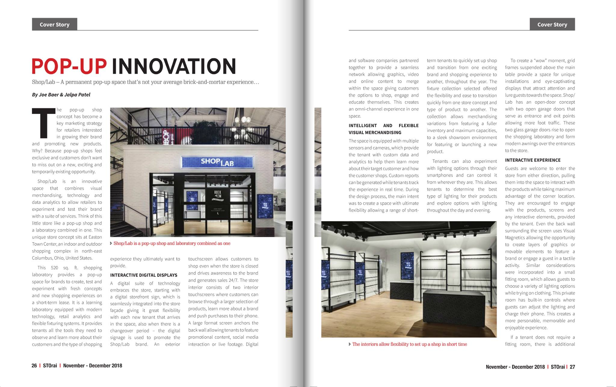 As seen in STOrai Magazine - Be sure to check out our latest article in the November/December 2018 issue of STOrai Magazine from the Retail Association of India.Pop-Up Innovation written by ZenGenius, Inc.'s very own CEO/Creative Director, Joe Baer and Senior Visual Merchandiser and Interior Architect, Jalpa Patel.