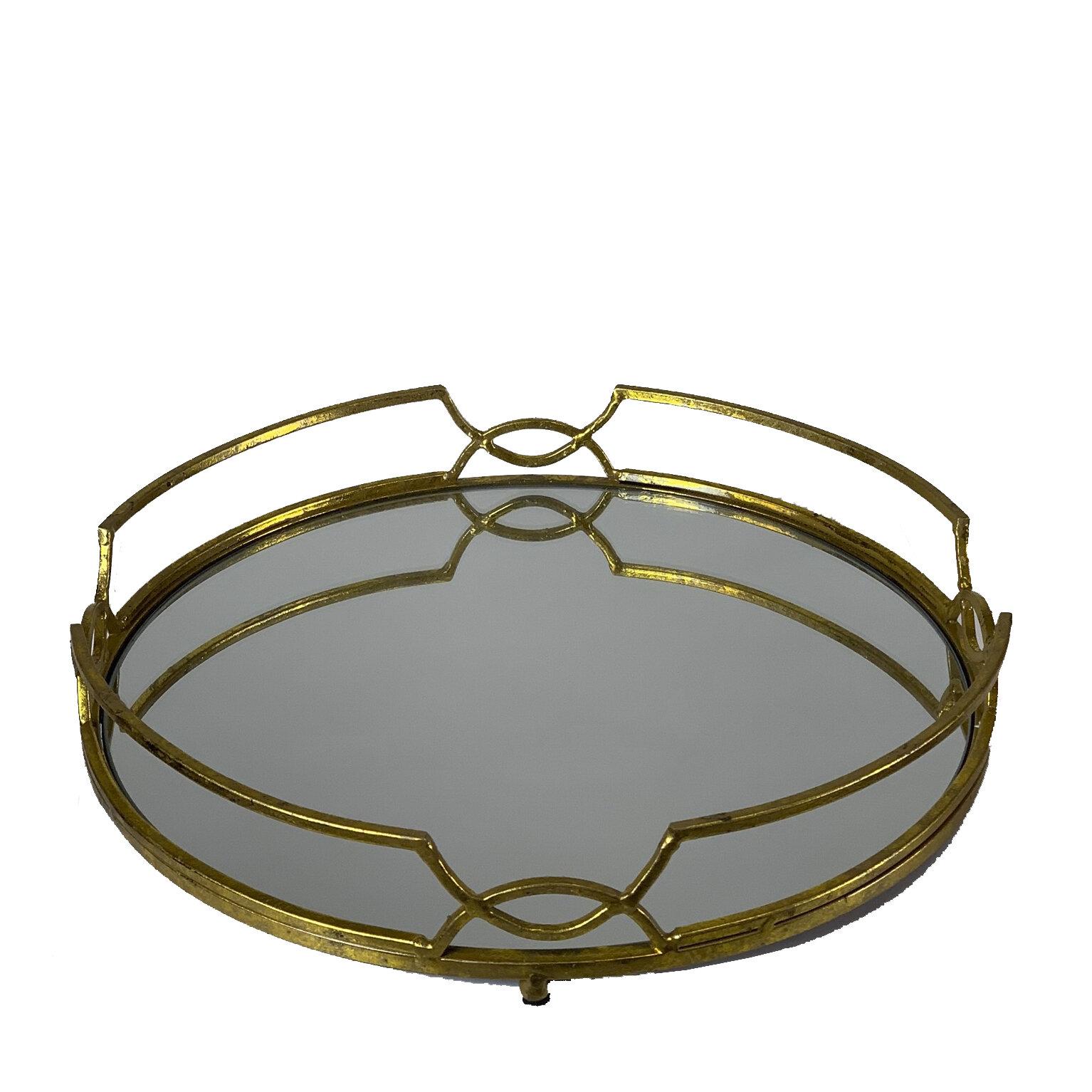 Modern Round Gold Mirror Serving Or Vanity Tray Zengenius Inc