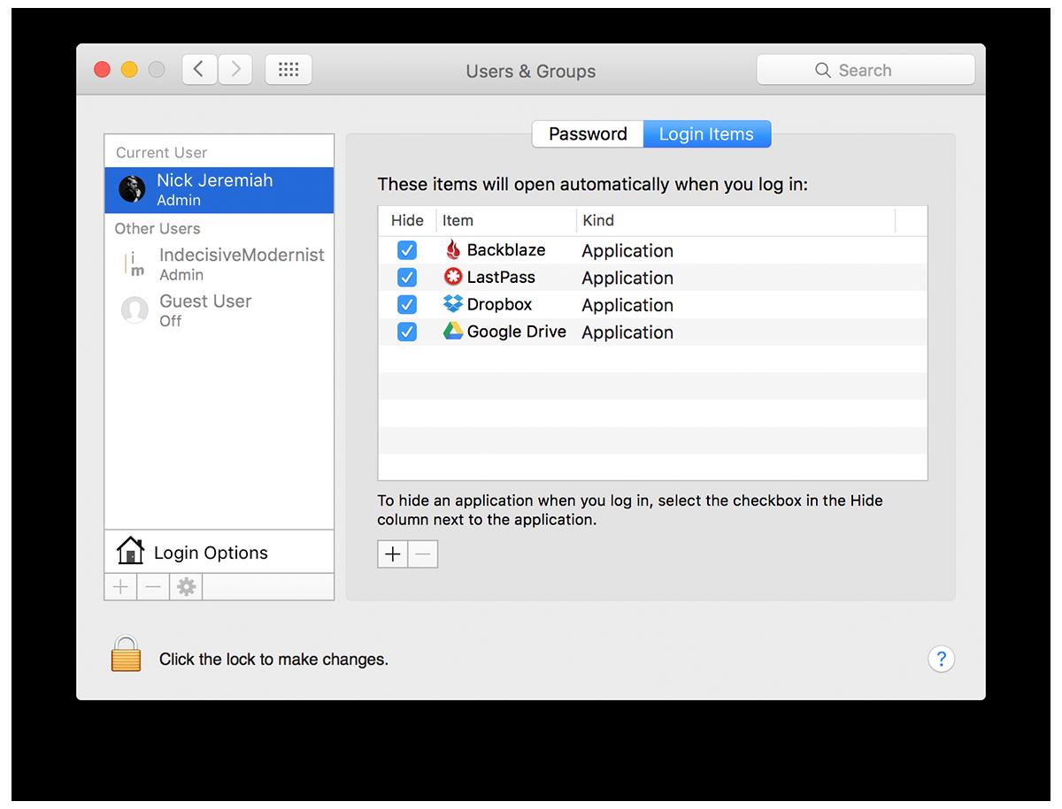 Login Items - Mac Maintenance | nickdjeremiah.com