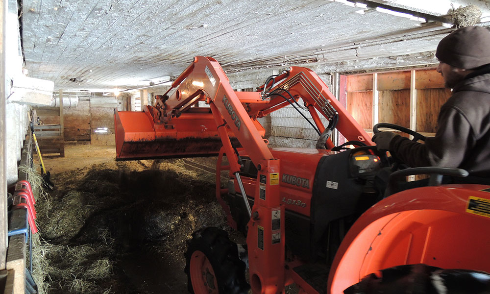 Seth removed interior dividers and such so we could use the tractor.