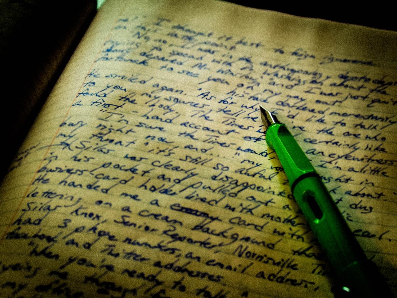 Pen on handwritten page