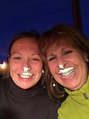 Kira and I celebrating a successful clinic enjoyingchocolate dipped meringues !!!!!!