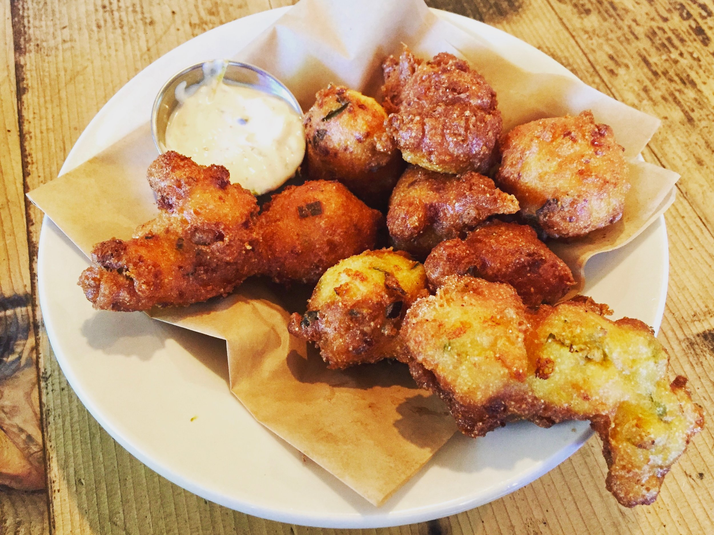 And if you're feeling really greedy, you can also start with the hush puppies.