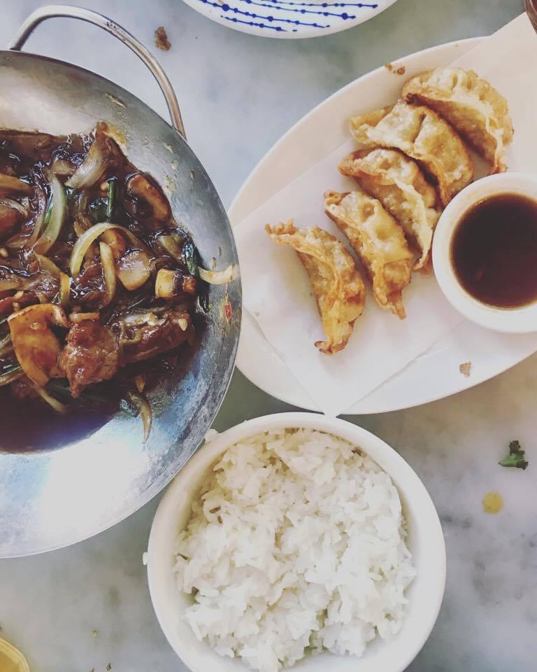 Mongolian beef with rice.