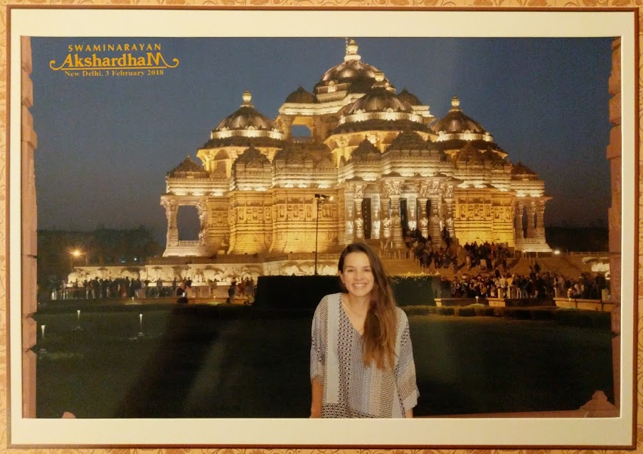 In the evening I went to this incredible temple called  Akshardham . I couldn't take a single photo while here. (They take your phones, cameras, iPads...everything.) So I paid a couple hundred rupees for this pic to get taken of me. I recommend clicking on the link above to see how insanely beautiful this place is.