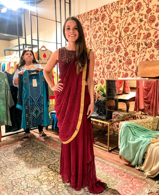 This is the only Sari they had available for trying on as the others are made exclusively for your body type. The lady behind me said its nice, but don't buy it because you won't stand out at an Indian wedding!