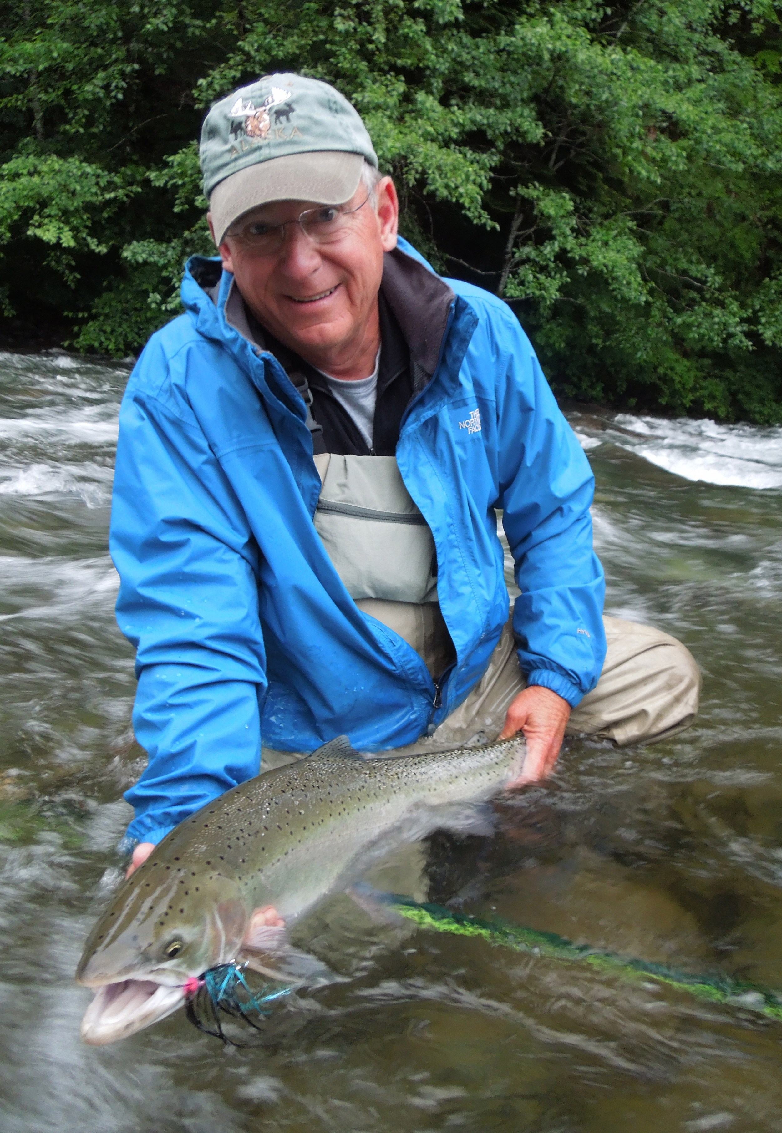 "Bill Sturgeon with his first steelhead, ""goodnight"" is all he could say."