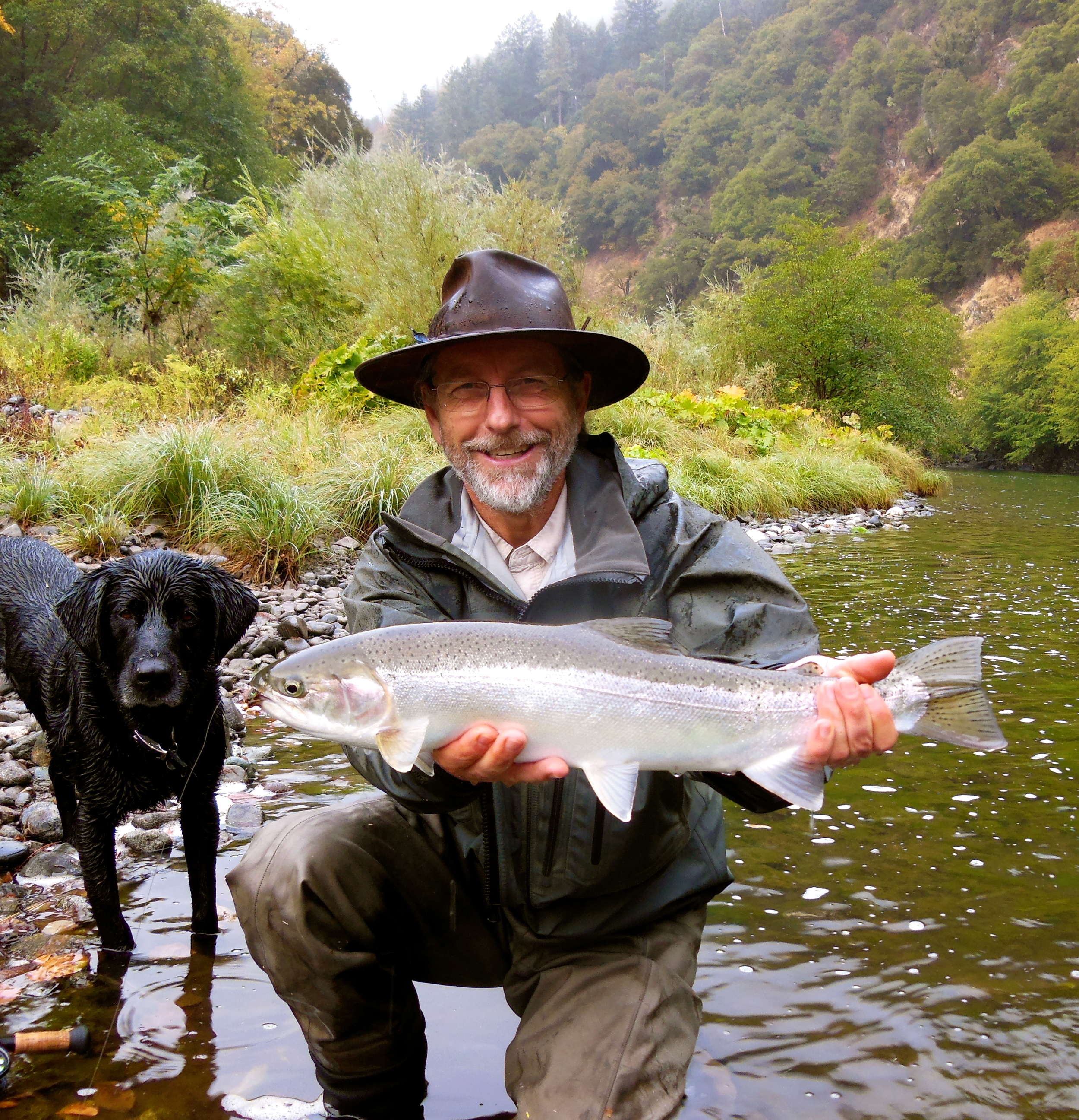"""Arturo Budnik, back from Chile with a pretty wild hen that ripped. Probably one of the coolest fish of the year for me, she came out of the water less than a foot deep. This was one of 11 Arturo saw to his fly in two days. """"It's the cheese"""" Arturo Budnik."""