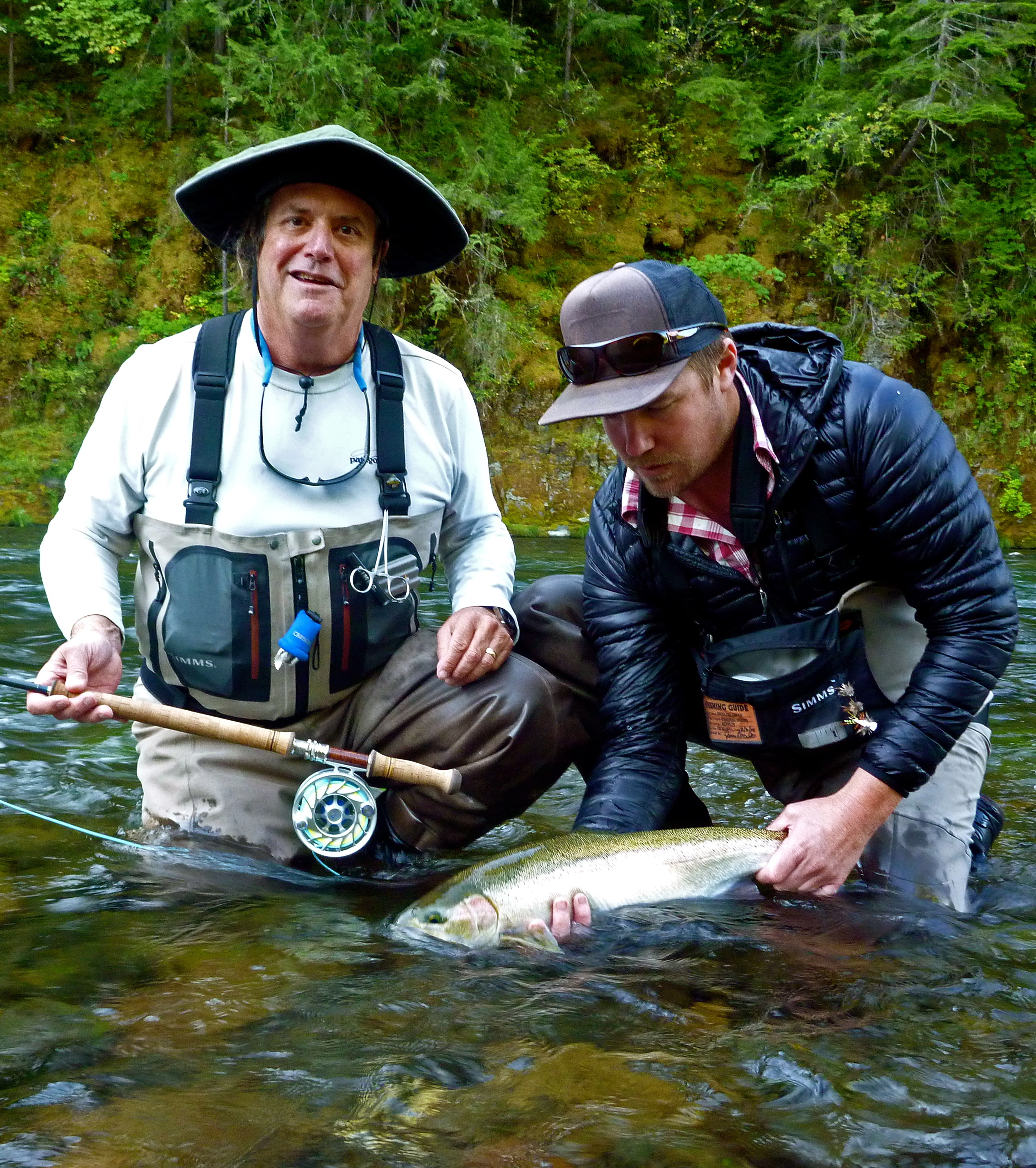 Big Dave with his first steelhead on the dry. There may have been a little flatfooting on the bank afterwards or maybe not.