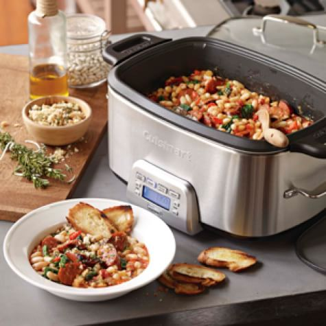 Slow Cooker White Beans and Sausage