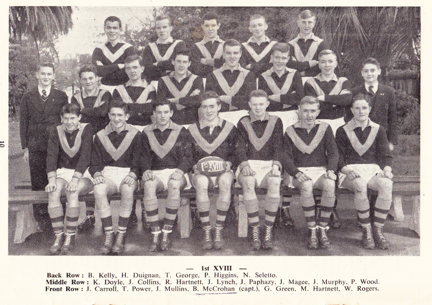 Brian front middle. First XVIII Captain 1957
