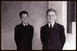 Brian McCrohan (R) and Carl Layh on the steps of Ardmara 1950