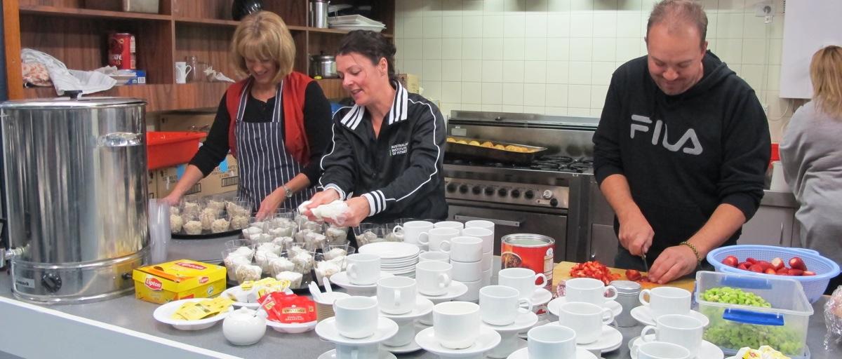 Yr 7 parents Preparing Mothers Day Breakfast