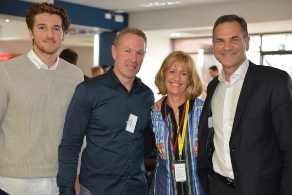Prue from the Foundation Office, flanked by Laurie Serafini, Marcus Bontempelli and Gavin Brown at the 2016 Friends of Football Function.