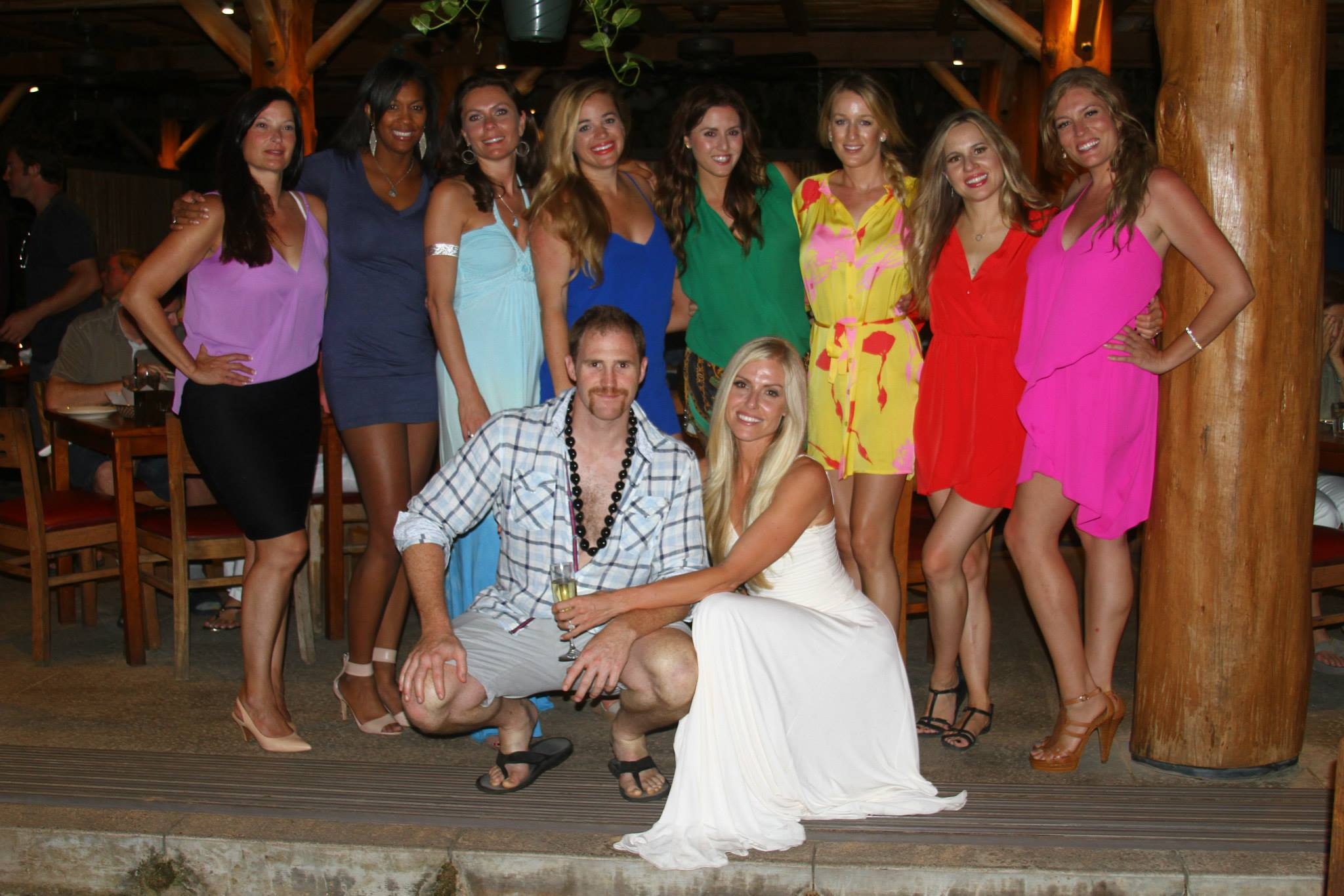 NIGHT 2: Rehearsal dinner at Ola's on the sand. 60 ppl made it and my girls unplanned showed up in different vibrant colors!! YES!!