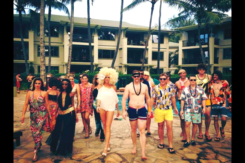 DAY 2: 70s pool party awesomeness!!! My favorite theme with fierce people at Turtle Bay Resorts Villa Pool