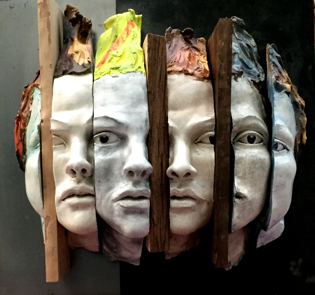 Unstructured Presence, (Ceramic Version) 20x23x6Head Sculpture