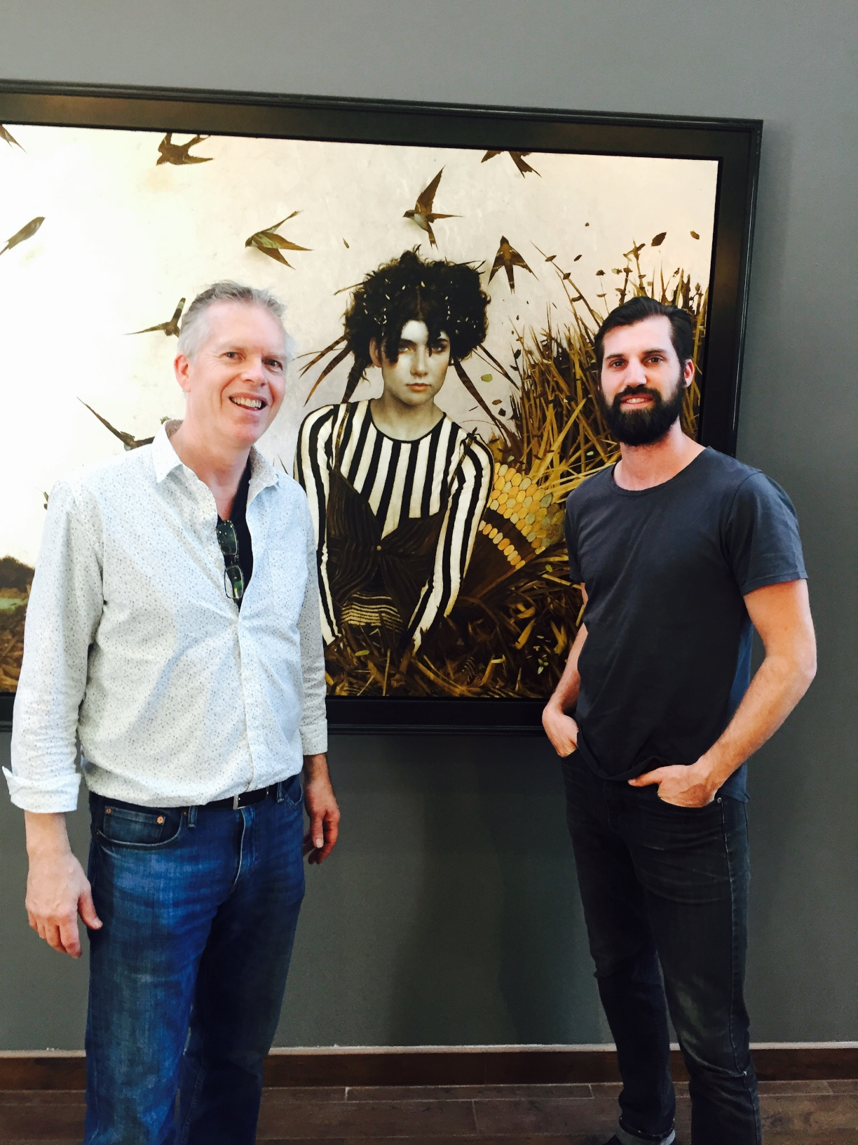 Brad Kunkle, right (with the author) at California Lutheran University, Artist in Residence,12/15