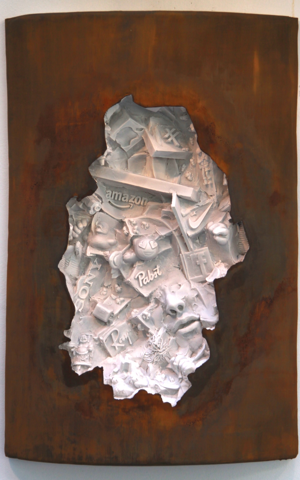 "(C)scape #30, 28""H x 19""W x 5""D, wall-mounted hydrocal, 2016.  Contemporary relief sculpture"